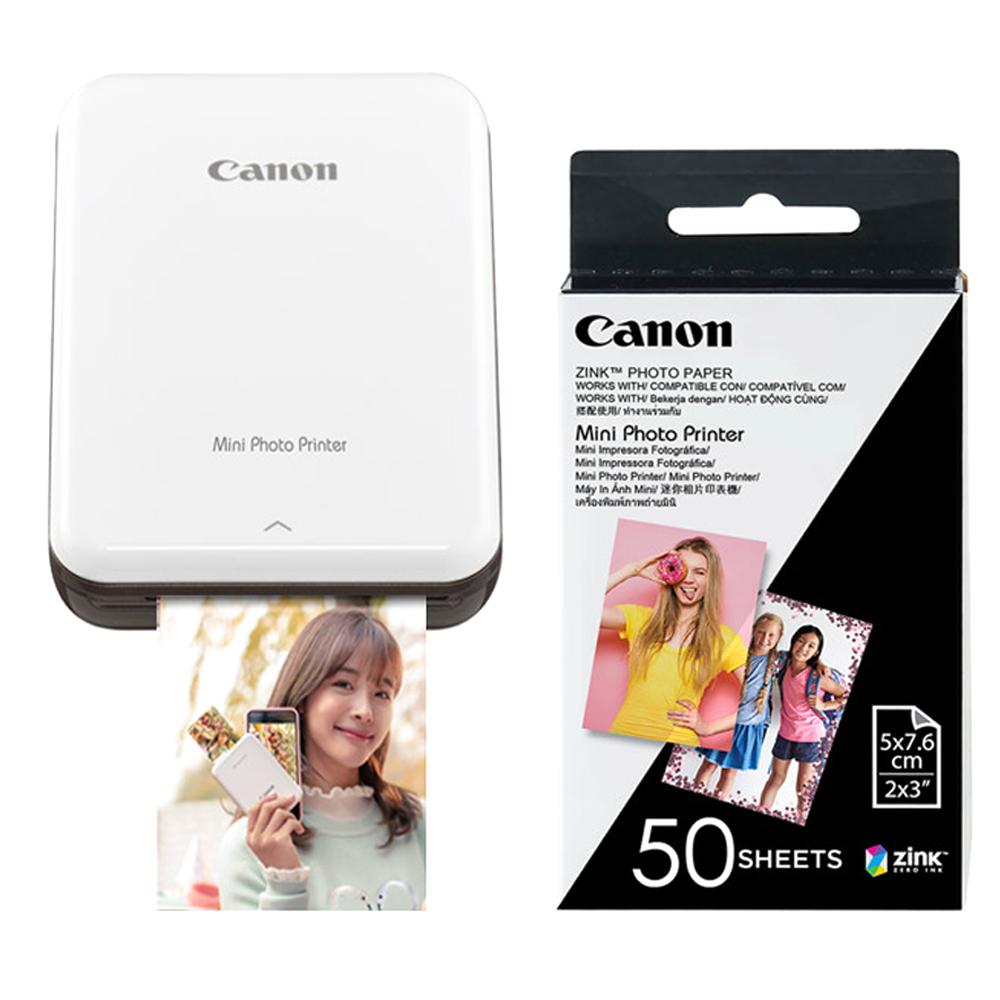 캐논 인스픽 미니 포토 프린터 휴대용 그레이 + 인화지 50p, PV-123