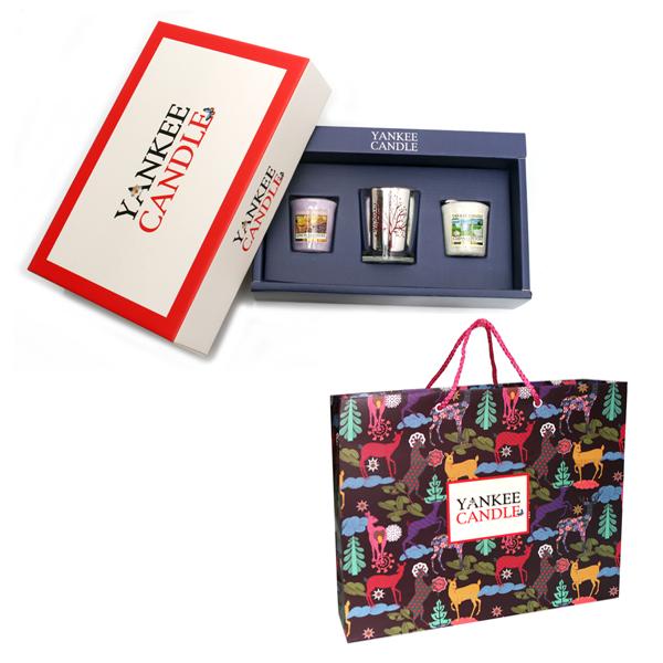 양키캔들 보티브 3종 실버나무 레드홀더1 선물세트 + 쇼핑백, 블랙체리, 클린코튼, 레몬라벤더