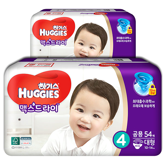 하기스 맥스드라이 밴드형 기저귀 아동공용 대형 4단계(10~14kg), 108매