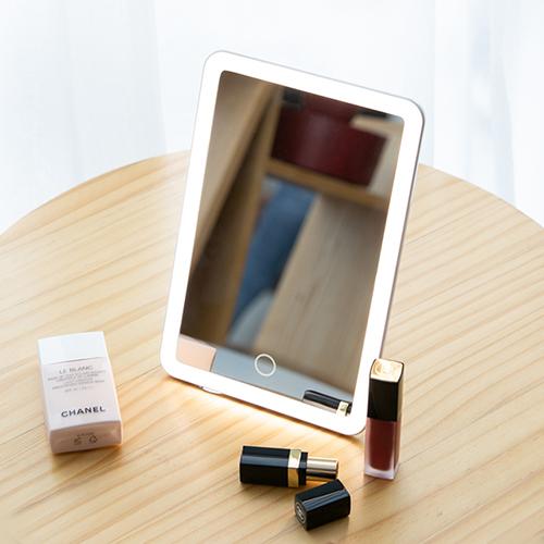 오아 LED 스퀘어 조명화장 거울 탁상 메이크업 화장대 책상거울, 화이트