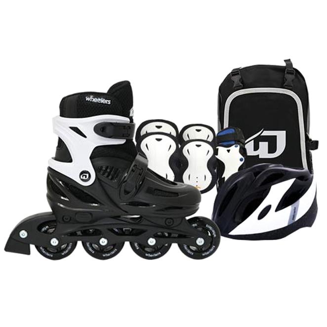 휠러스 아동용 에이스2 인라인스케이트 + 가방 + 보호대 + 헬멧 콤보 세트, 블랙