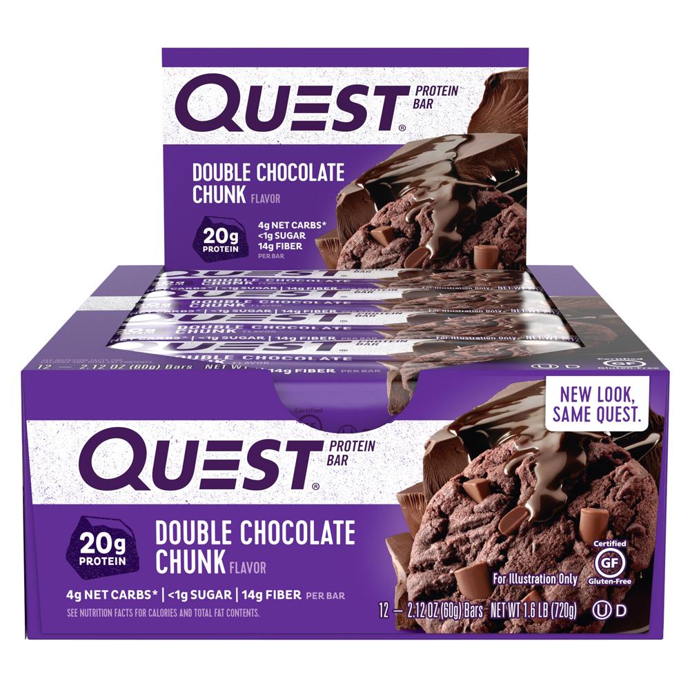 [쿠팡 직수입] 퀘스트뉴트리션 프로틴 바, 60g, 12개입, 더블 초콜릿 청크(Double Chocolate Chunk)