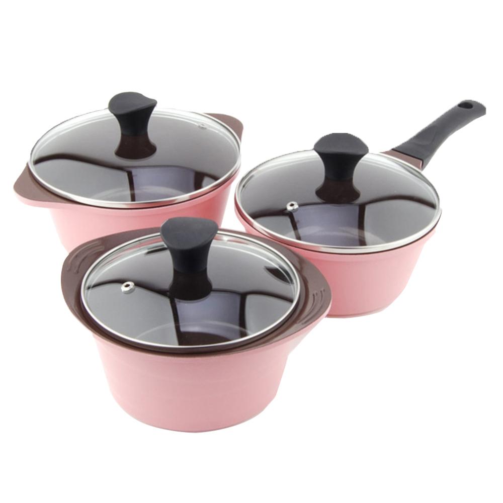 키친아트 세라믹 냄비 3개 세트, 핑크, 편수 18 cm + 양수 16 cm + 양수 20 cm