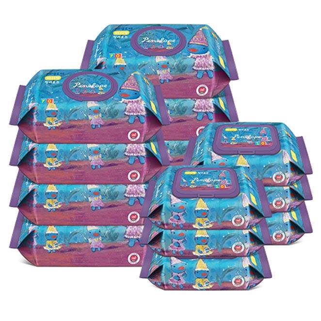 페넬로페 바이탈 유아물티슈 릴리로즈 캡형 70매 x 8팩 + 휴대용 20매 x 6팩, 1세트