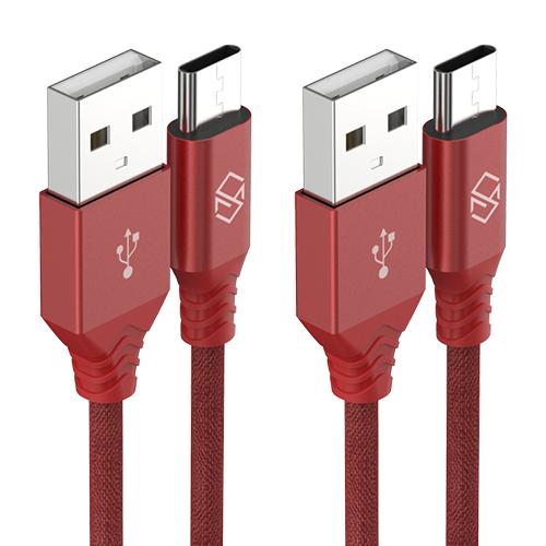 신지모루 더치패브릭 USB C타입 고속충전 케이블 1m, 레드, 2개입
