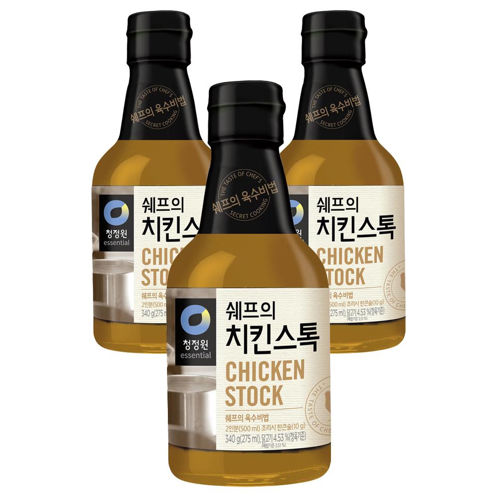 청정원 쉐프의 치킨스톡, 340g, 3개