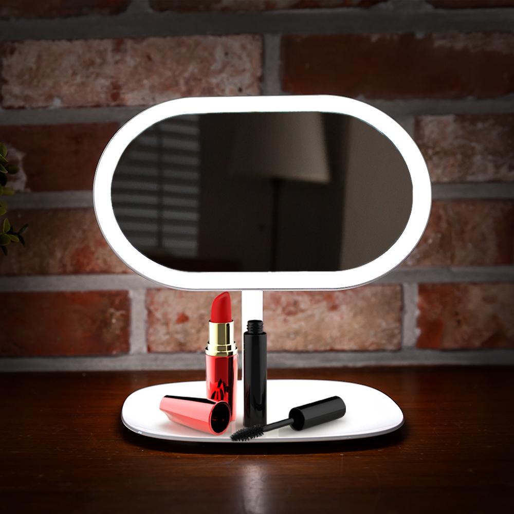 레토 LED 조명 스탠드 메이크업 탁상거울 LLM-C01, 혼합 색상
