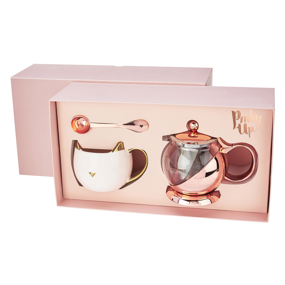 핑키업 머그컵 다기 세트, 1세트, 티팟 + 인퓨저 + 머그컵 + 스푼