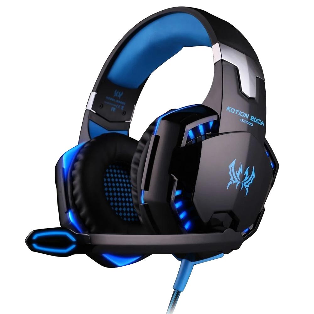 히키스 게이밍 고음질 LED 라이트 헤드셋 G2000, COOL BLUE