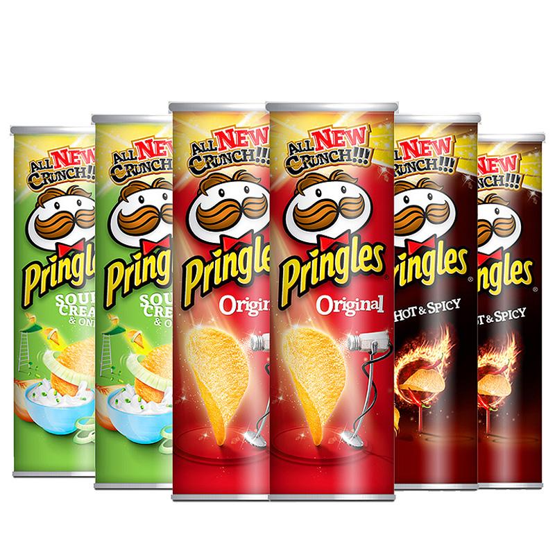 프링글스 베스트팩 감자스낵, 양파맛 110g 2개 + 오리지날 100g 2개 + 매운맛 110g 2개, 1세트