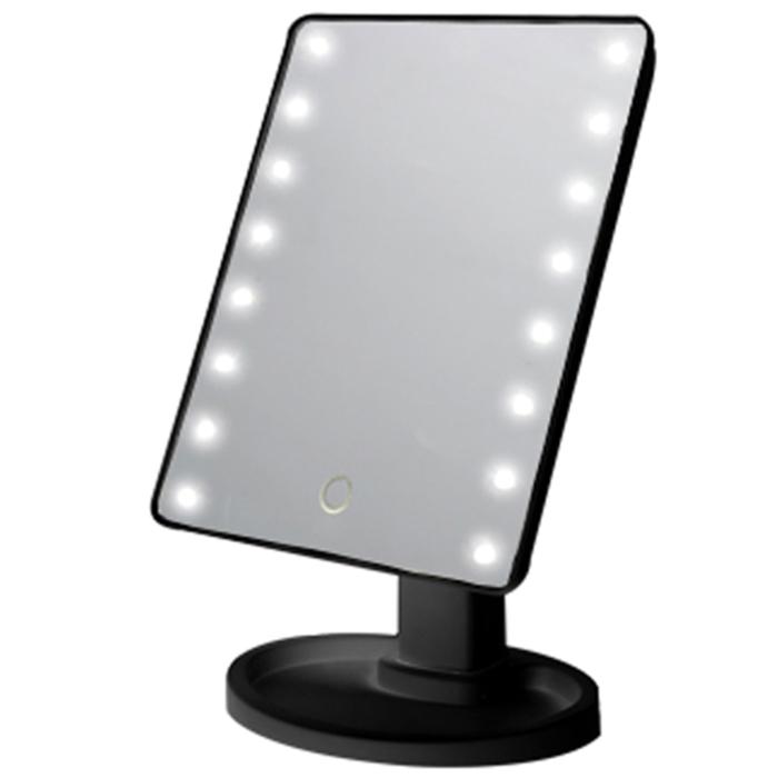 파인블루 LED 뷰티 터치 탁상거울, 블랙