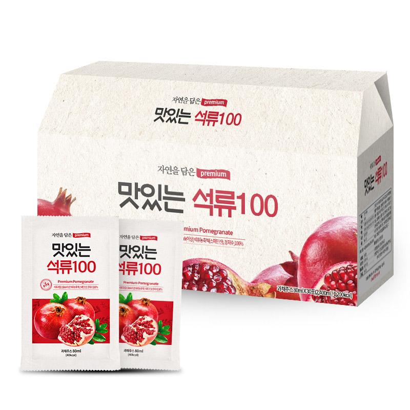 [석류즙] 황토농원 맛있는 석류100 건강즙, 80ml, 30포 - 랭킹10위 (9900원)