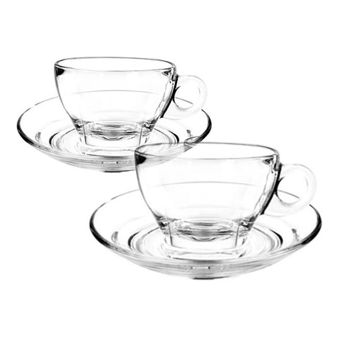 오션글라스 카페 프리모 라떼 컵 + 받침 2인조 세트, 1세트