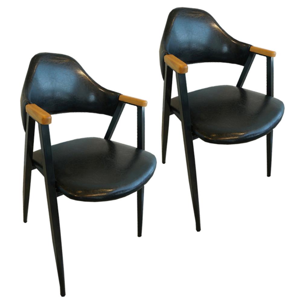 오피스퍼니처 비올렛 우드 인테리어의자 2p, 블랙