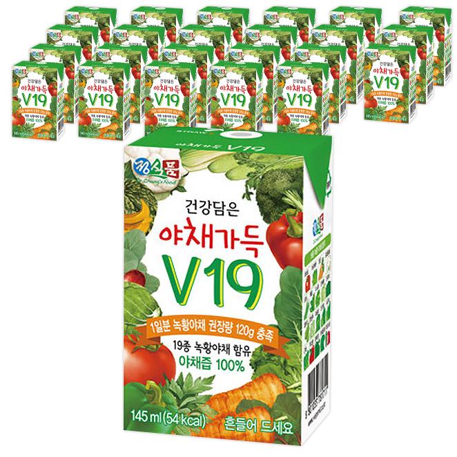 정식품 건강담은 야채가득 야채즙 V19, 145ml, 24팩