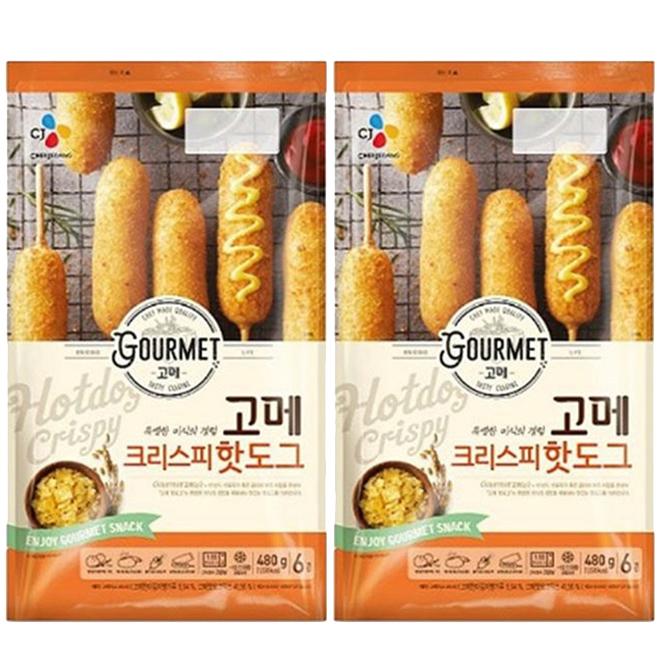 CJ제일제당 고메 크리스피 핫도그, 480g, 2개