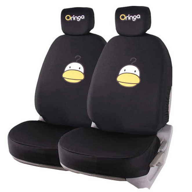 오링가 사계절 차량용 패션 시트커버 앞좌석, 블랙, 2개입