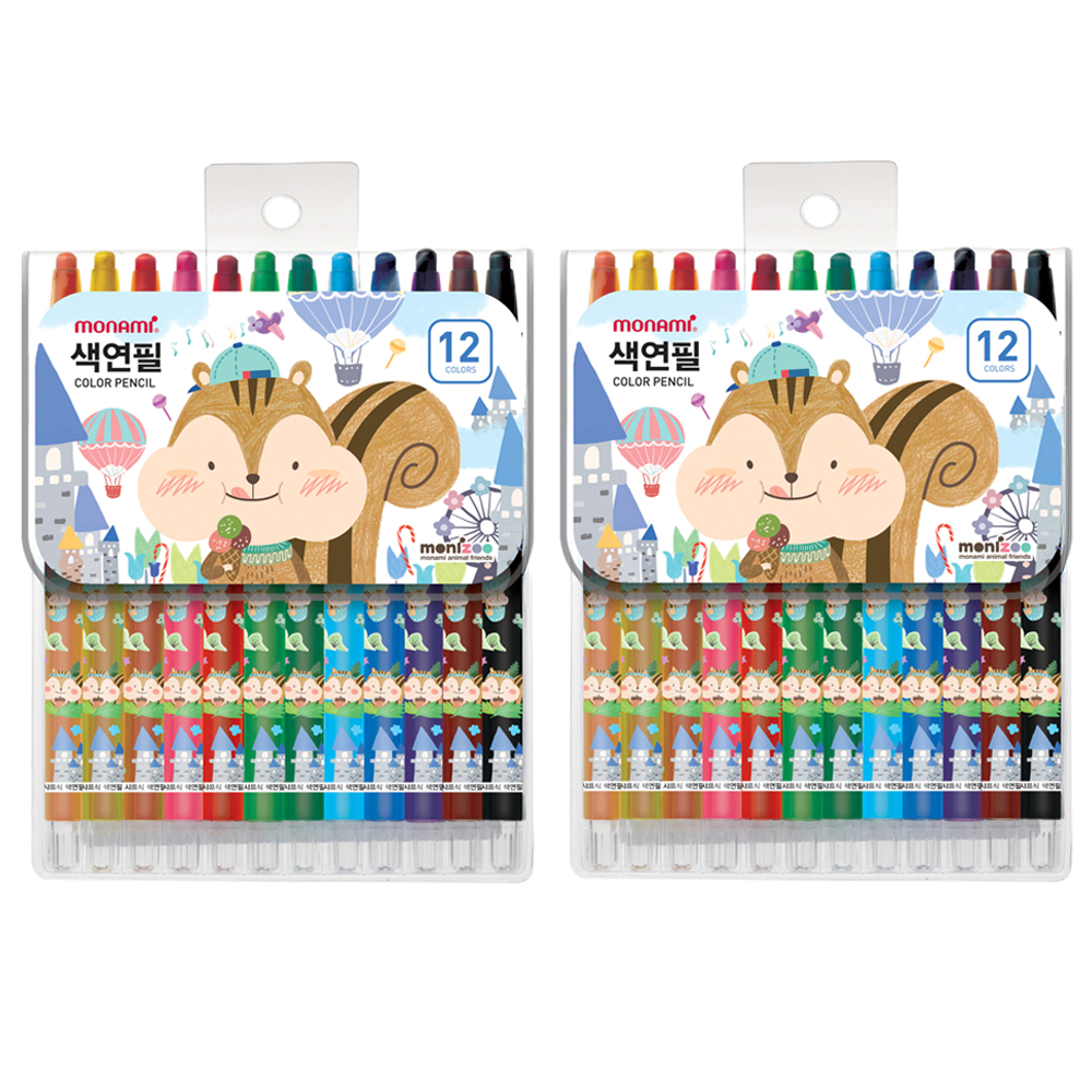 모나미 모니주 샤프식 색연필 남, 12색, 2개