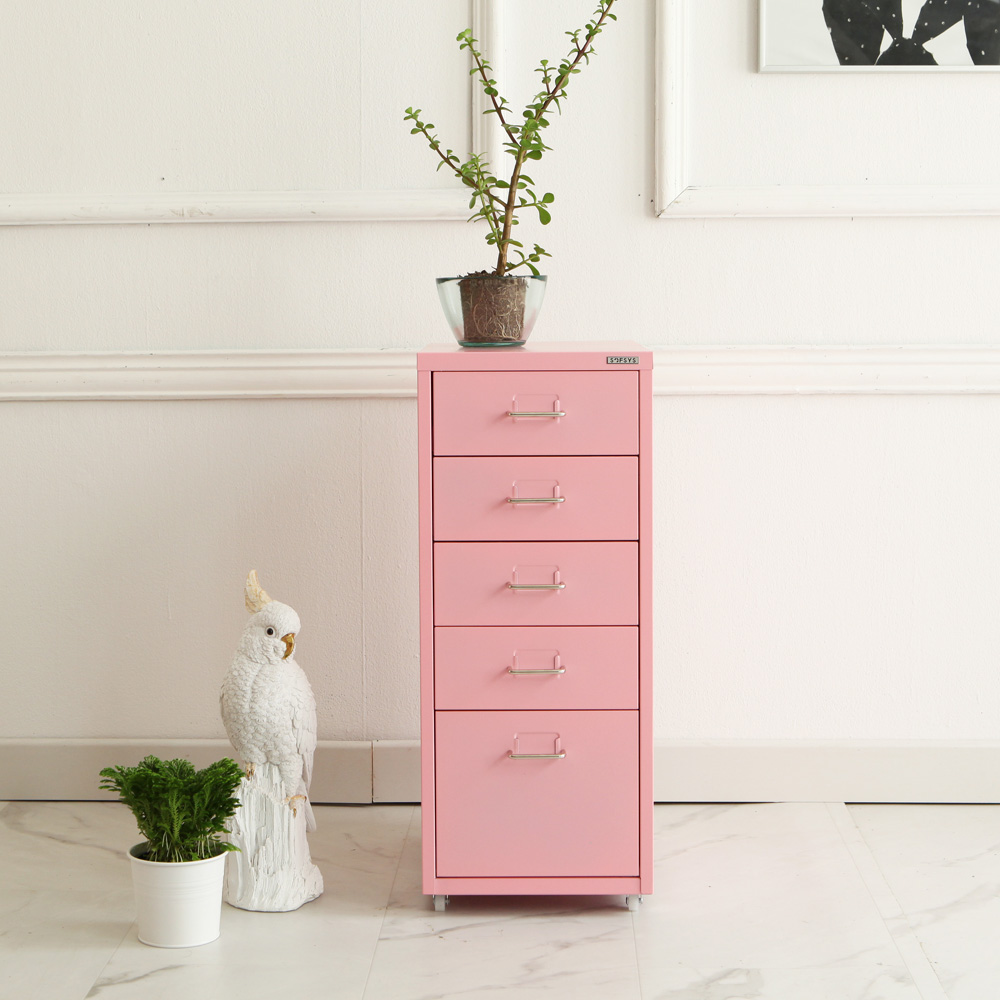 소프시스 철제 5단 서랍, 핑크