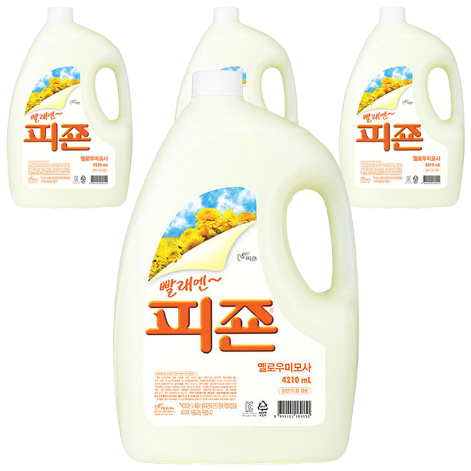 피죤 프리미엄 섬유유연제 옐로미모사 본품, 4210ml, 4개