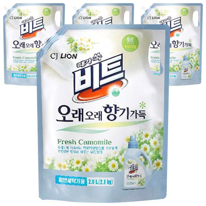 비트 오래오래 향기가득 일반용 액체세제 리필, 2L, 4개