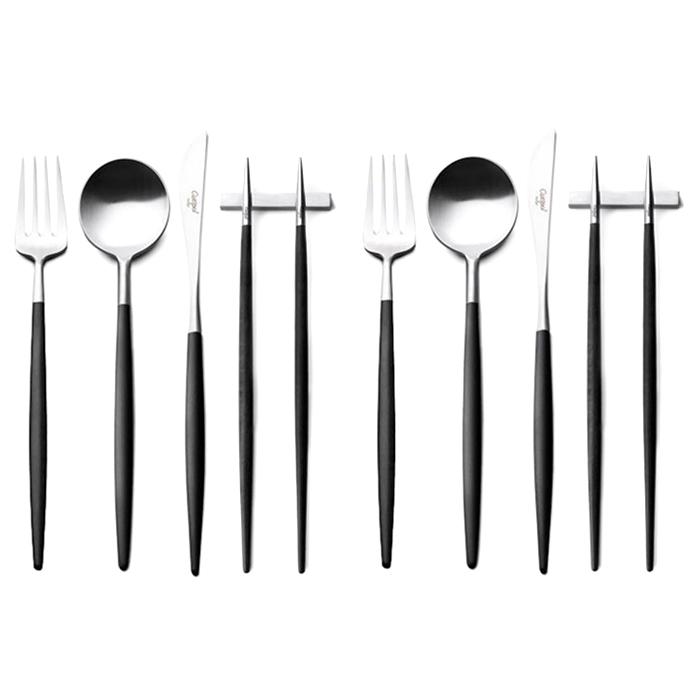 큐티폴 고아 디너 4종 2인조 커트러리 세트, 블랙, 스푼 2p + 젓가락 2p + 포크 2p + 나이프 2p