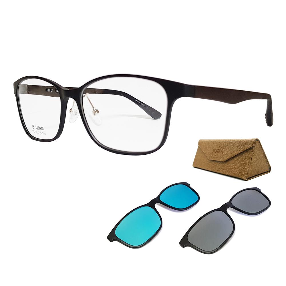 팬톤 마그넷 클립 안경겸용 스포츠선글라스 + 클립 2p CS07 + 고급안경케이스, 안경테 (무광블랙), 클립 (실버미러, 블루미러)