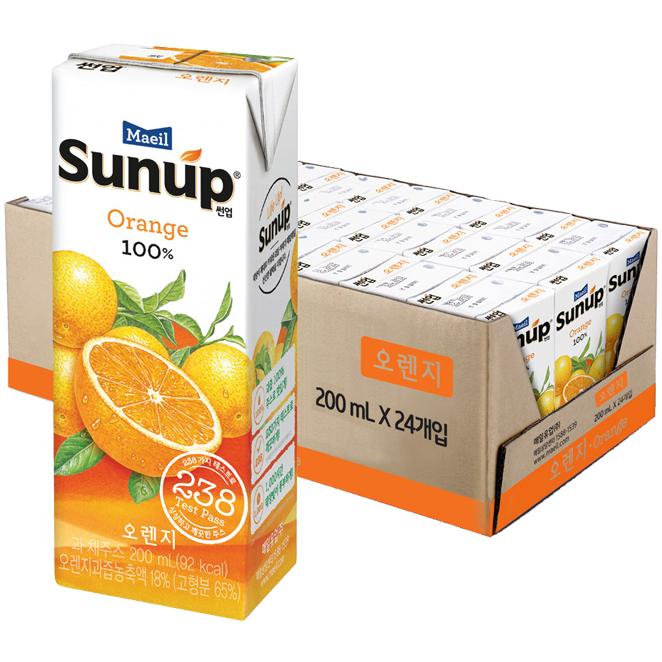 썬업 오렌지 주스, 200ml, 24개