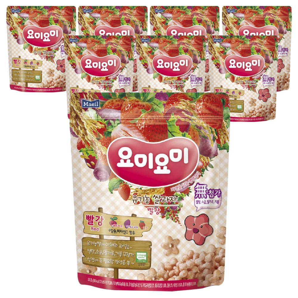 요미요미 유기농 쌀과자, 자색고구마 + 레드비트 + 딸기, 8개