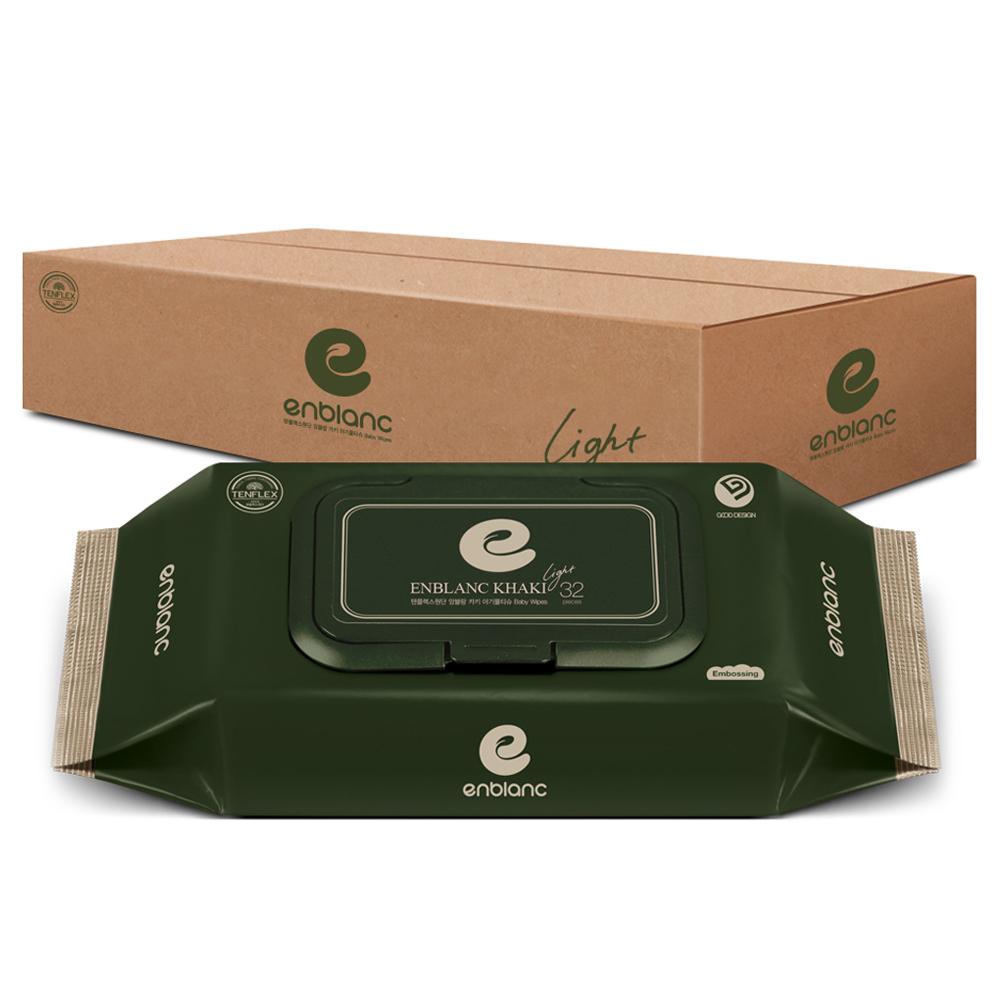 앙블랑 카키 라이트 아기물티슈 캡형, 32매, 10팩