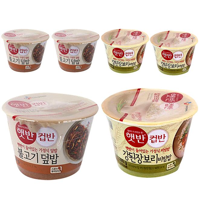 햇반 컵반 불고기 덮밥 250g 3p + 강된장 보리 비빔밥 280g 3p, 1세트