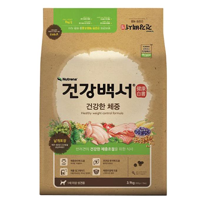 건강백서 어덜트 곡물 건강한 체중 반려견 사료, 3.9kg