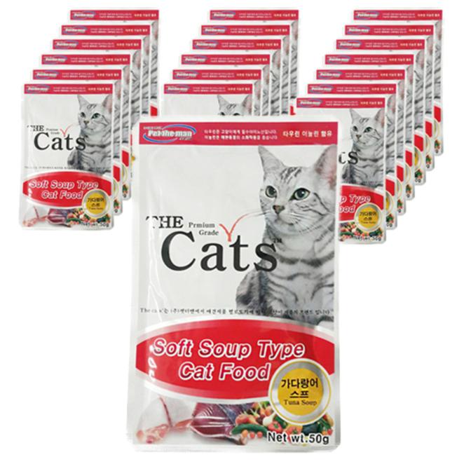 더캣츠 소프트 스프 타입 고양이간식 파우치, 가다랑어, 20개