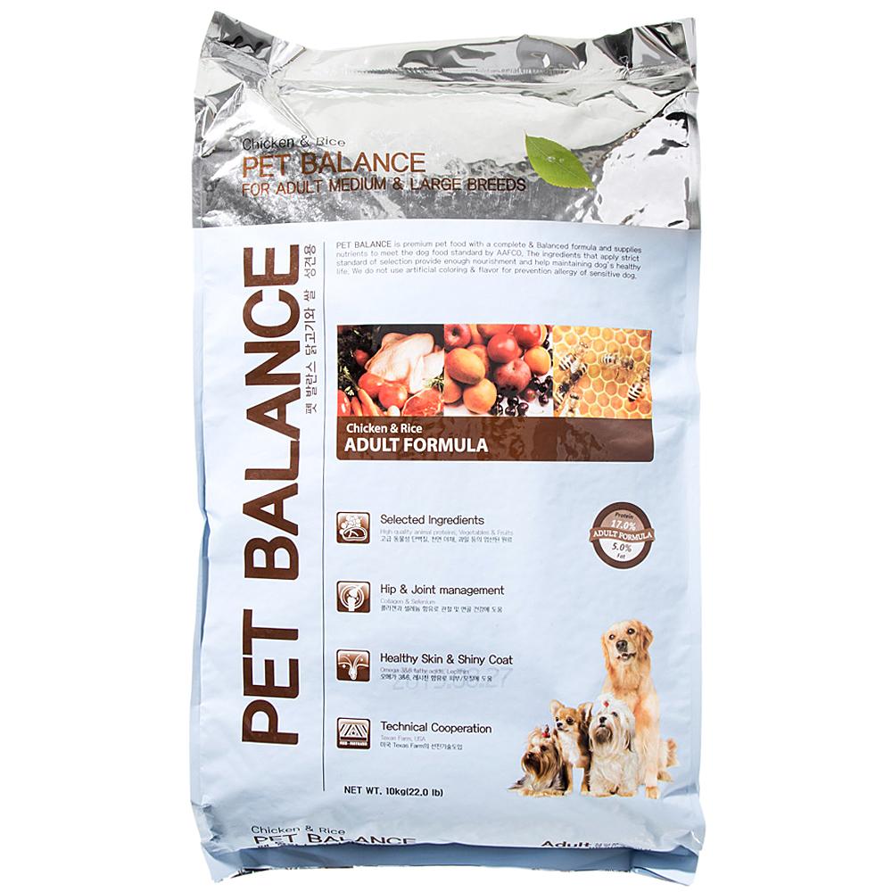 펫발란스 어덜트 미디움 & 라지 브리드 치킨 라이스 반려견 사료, 닭, 10kg