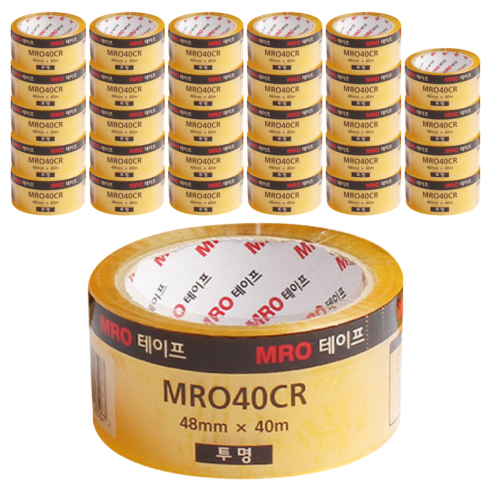 MRO 투명 박스테이프 48mm x 40m, 30개