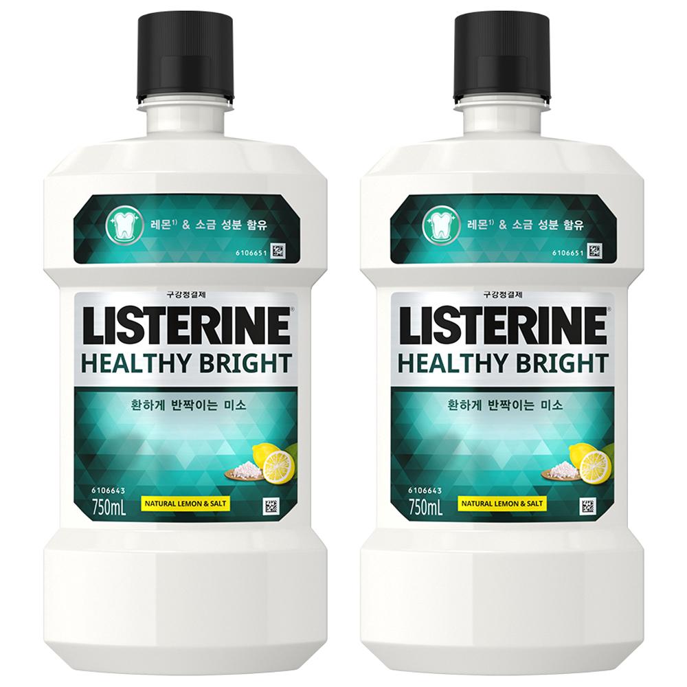 리스테린 헬씨브라이트 구강세정제, 750ml, 2개