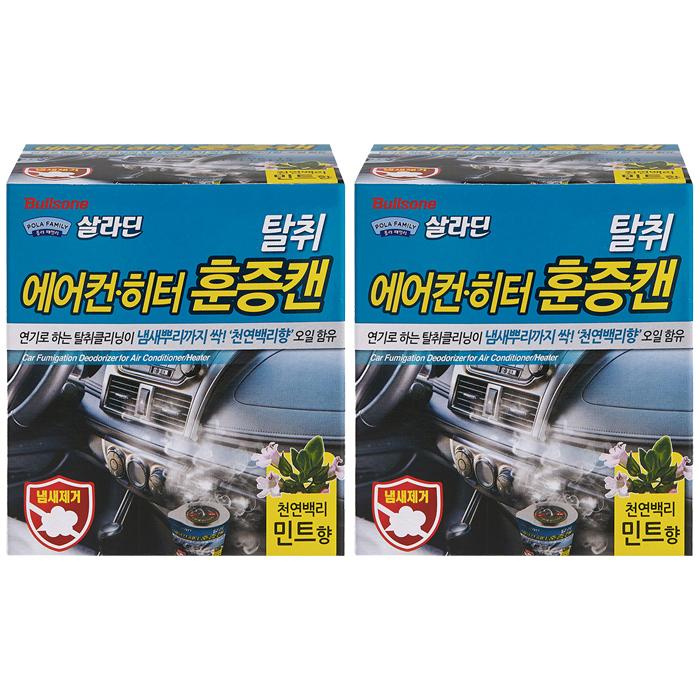 불스원 폴라패밀리 살라딘 에어컨 히터 탈취 훈증캔 민트향 본품, 4.8g, 2개