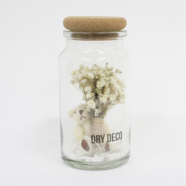 드라이데코 색안개꽃 프리저브드 미니꽃다발 화병 꽃을 든 곰돌이 소품, 흰색, 1개
