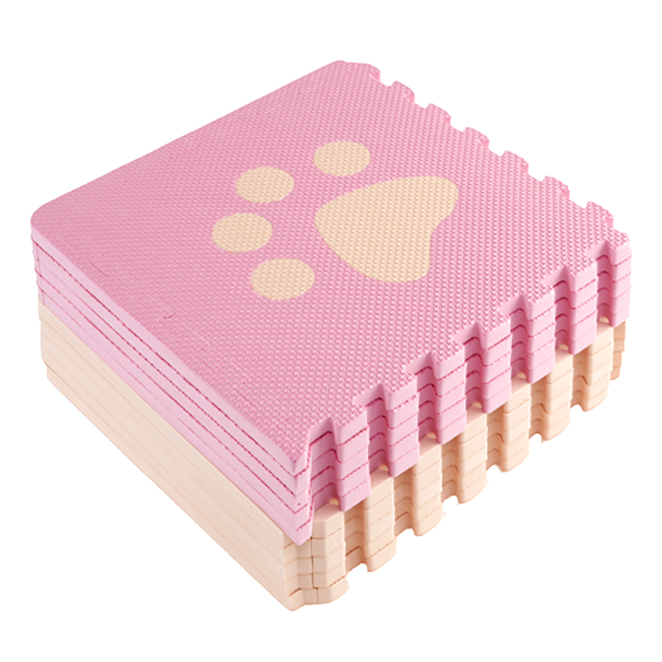 메이토쿠 러브애니멀 퍼즐매트 10장 1세트, 핑크+베이지
