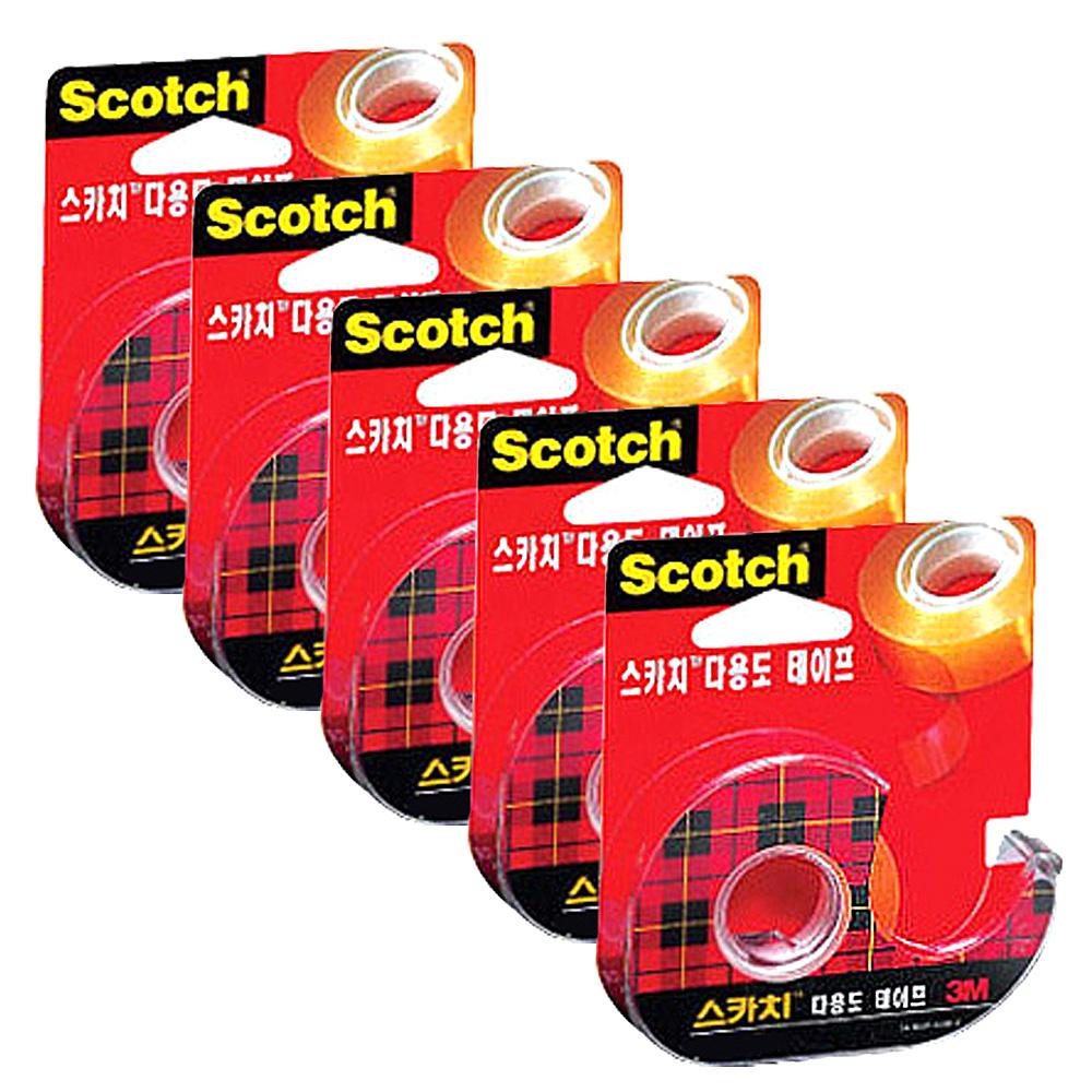 스카치 3M 다용도 셀로판테이프 디스펜서 581 18 mm x 15 m, 단일색상, 5개