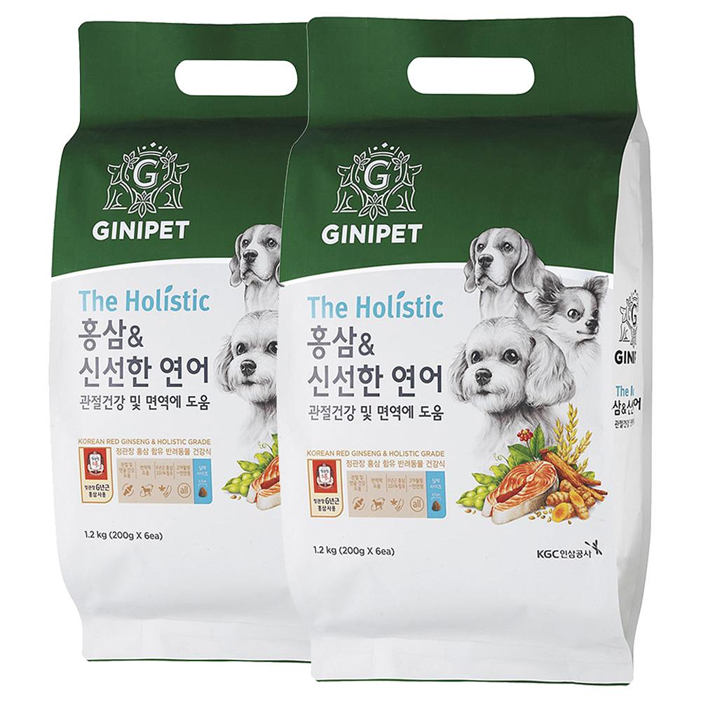 지니펫 전연령 생선 홀리스틱 홍삼 & 신선한 연어 관절건강 반려견사료, 1.2kg, 2개