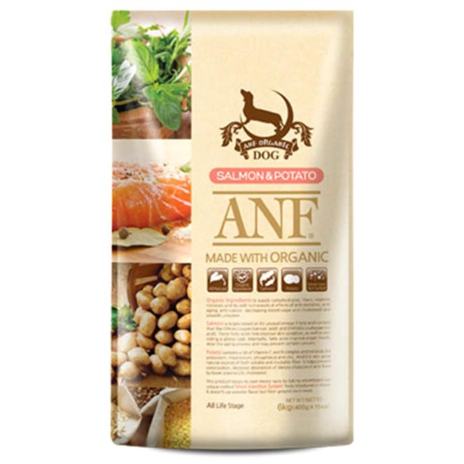 에이엔에프 전연령 유기농 연어&감자 애견사료, 6kg, 1개