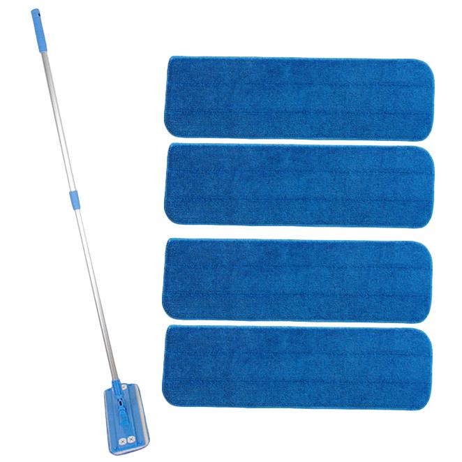 밀대청소기 블루 + 극세사패드 루프형 리필 4장, 1세트