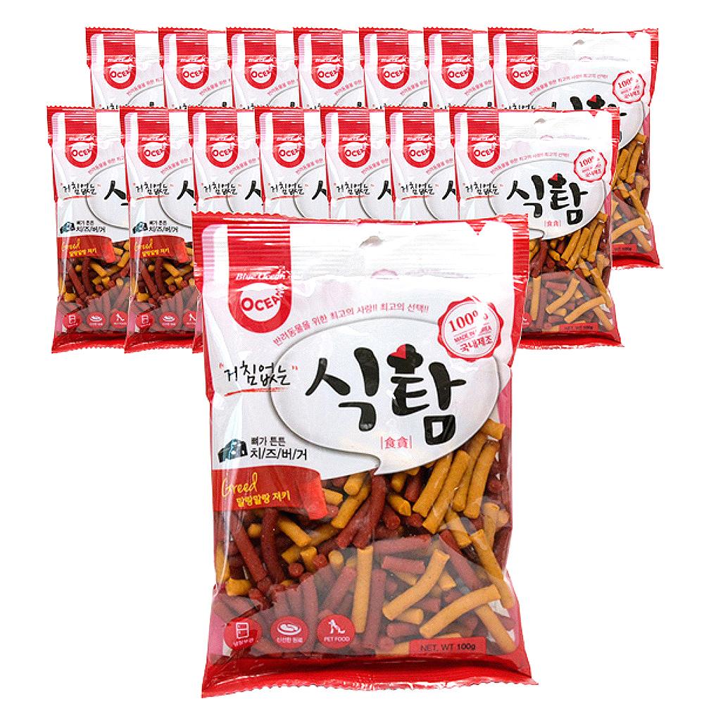 오션 거침없는 식탐 스틱형 강아지 간식 져키, 치즈버거, 15개