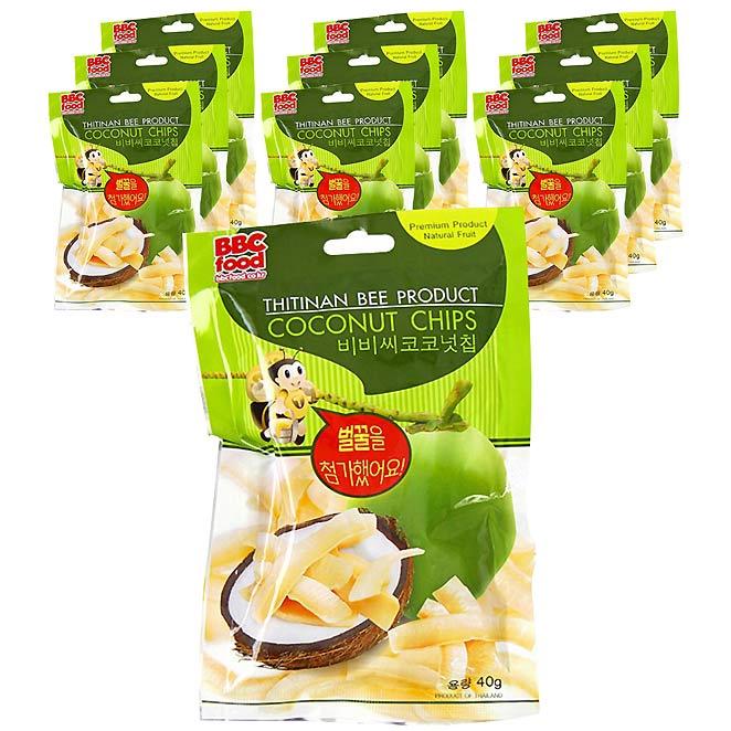 비비씨푸드 코코넛칩, 40g, 10개입