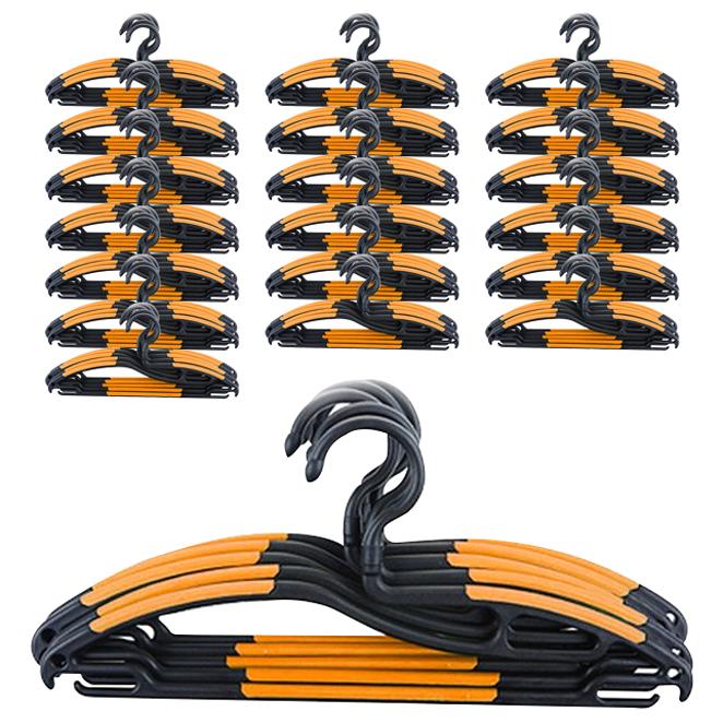 주연화학 코모드 매직행거 회전형 옷걸이, 블랙+오렌지, 100개입