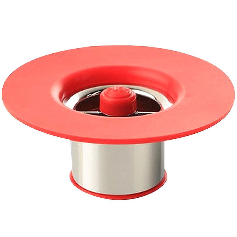 셀클리너 욕실바닥용 실리콘 하수구 트랩 레드, 1개