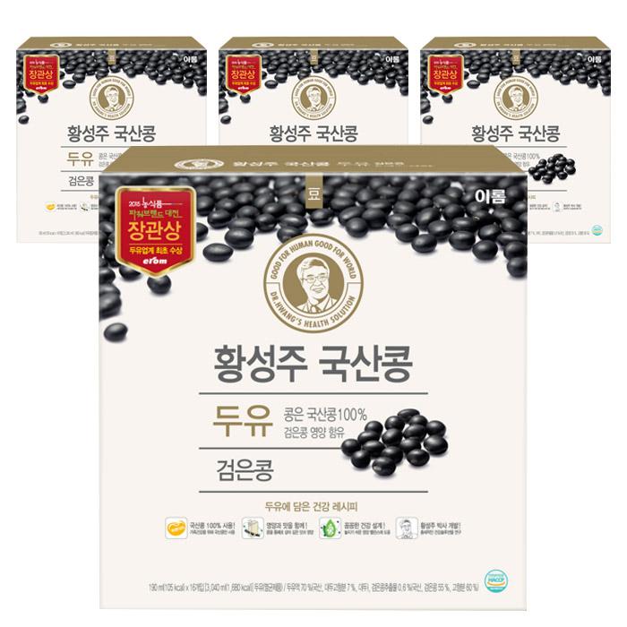 이롬 황성주 국산콩 건강한 검은콩 두유, 190ml, 64개입