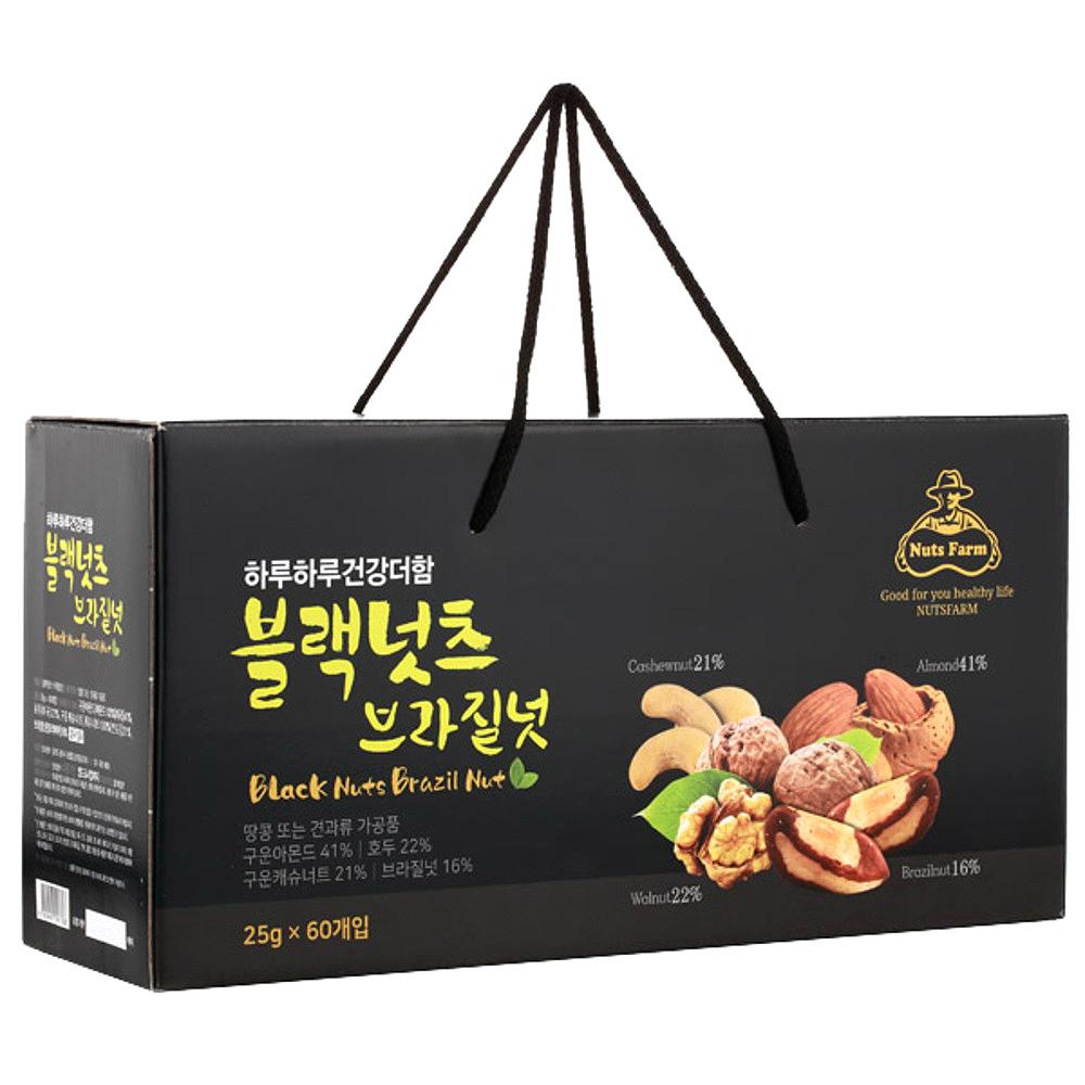 넛츠팜 블랙넛츠 브라질넛, 25g, 60개입