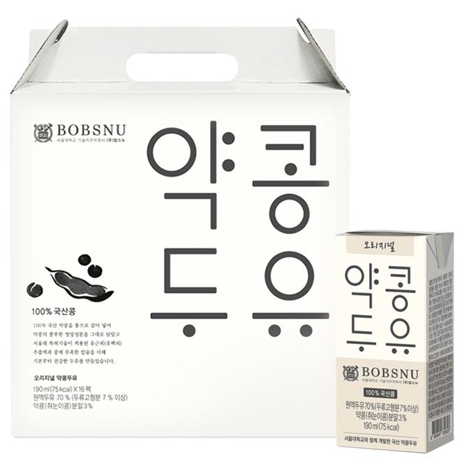 서울대밥스누 오리지널 약콩두유, 190ml, 16개